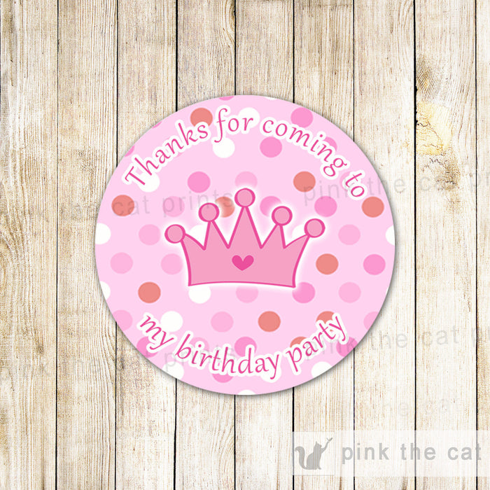 Princess Gift Favor Labels Girl Birthday Party Pink Polka Dots Crown Thank You Tag Printable File Personalized Decorations INSTANT DOWNLOAD