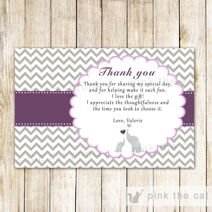 Elephant Thank You Card Baby Girl Shower Purple