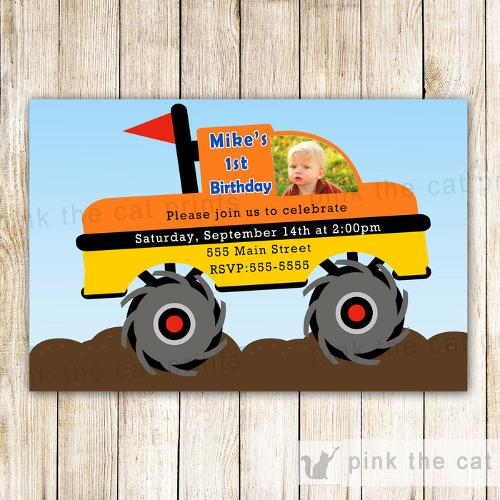 Monster Truck Invitation Boy Birthday Photo Card