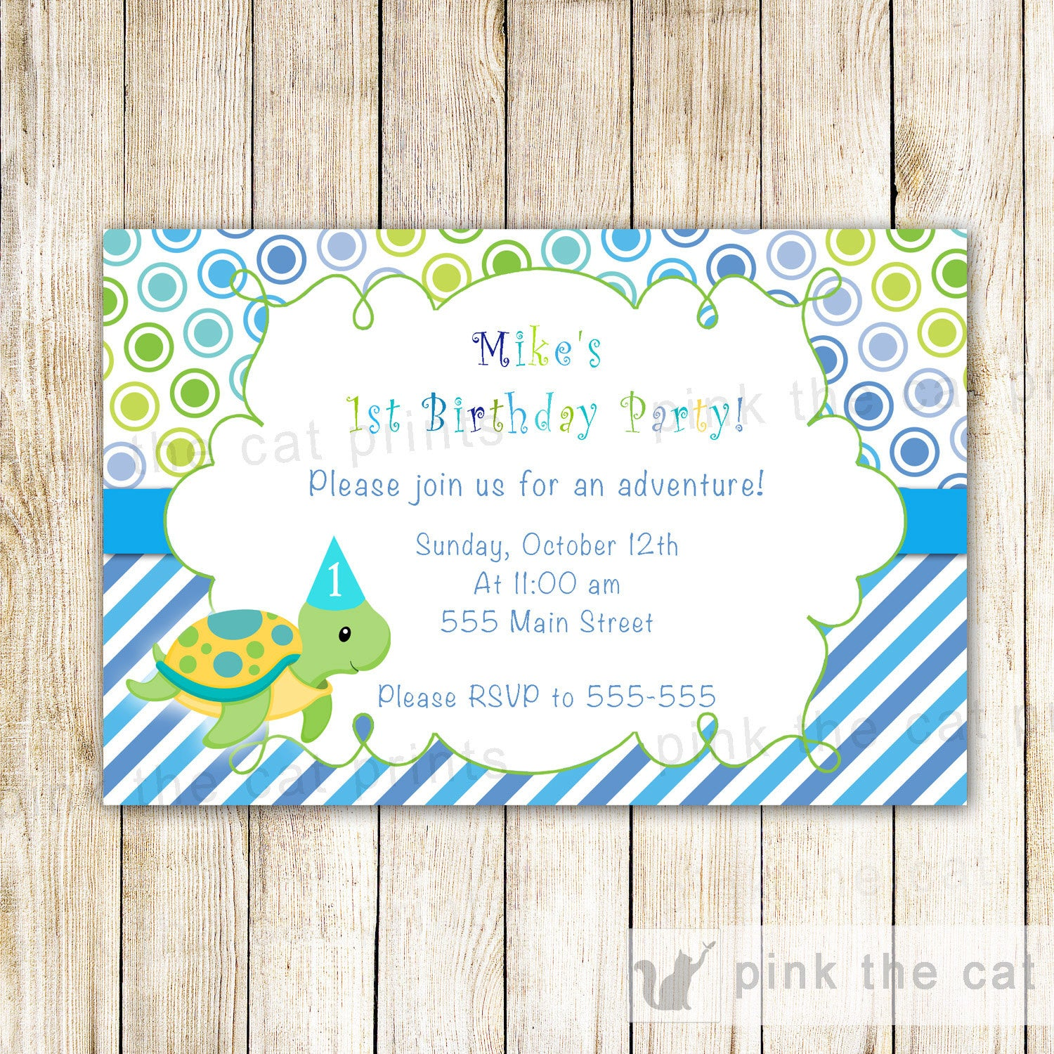 Turtle Invitation Boy Birthday Party Blue Green – Pink The Cat