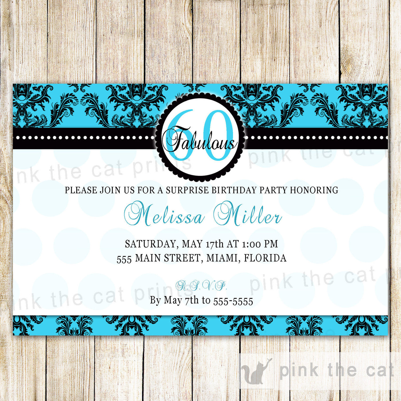 Turquoise Black Adult Birthday Party Invitation Pink The Cat