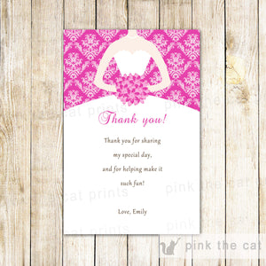 Hot Pink Dress Floral Thank You Card Printable