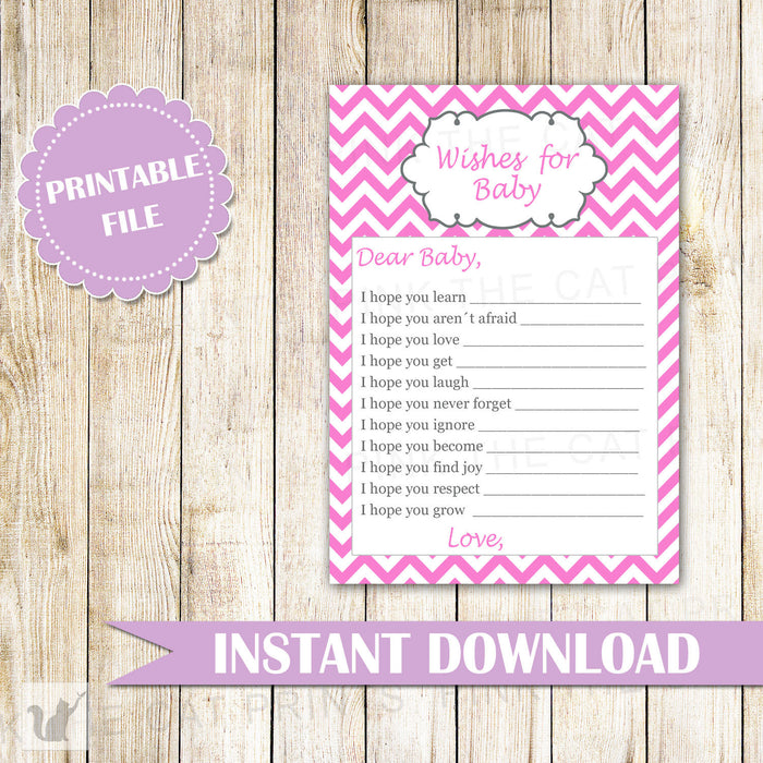 Wishes for Baby Card Pink Chevron