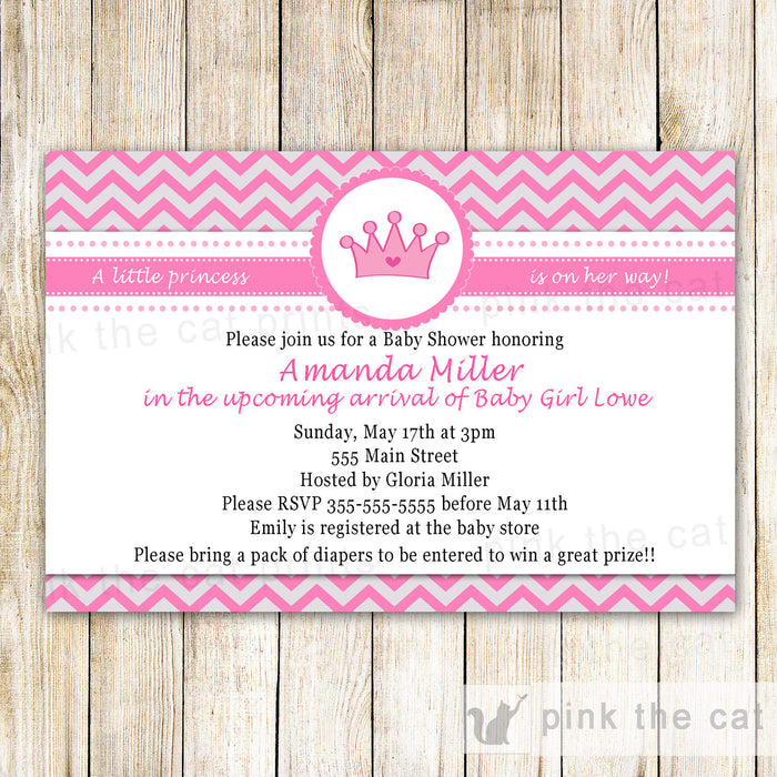Princess Invitation Silver Pink Birthday Baby Shower