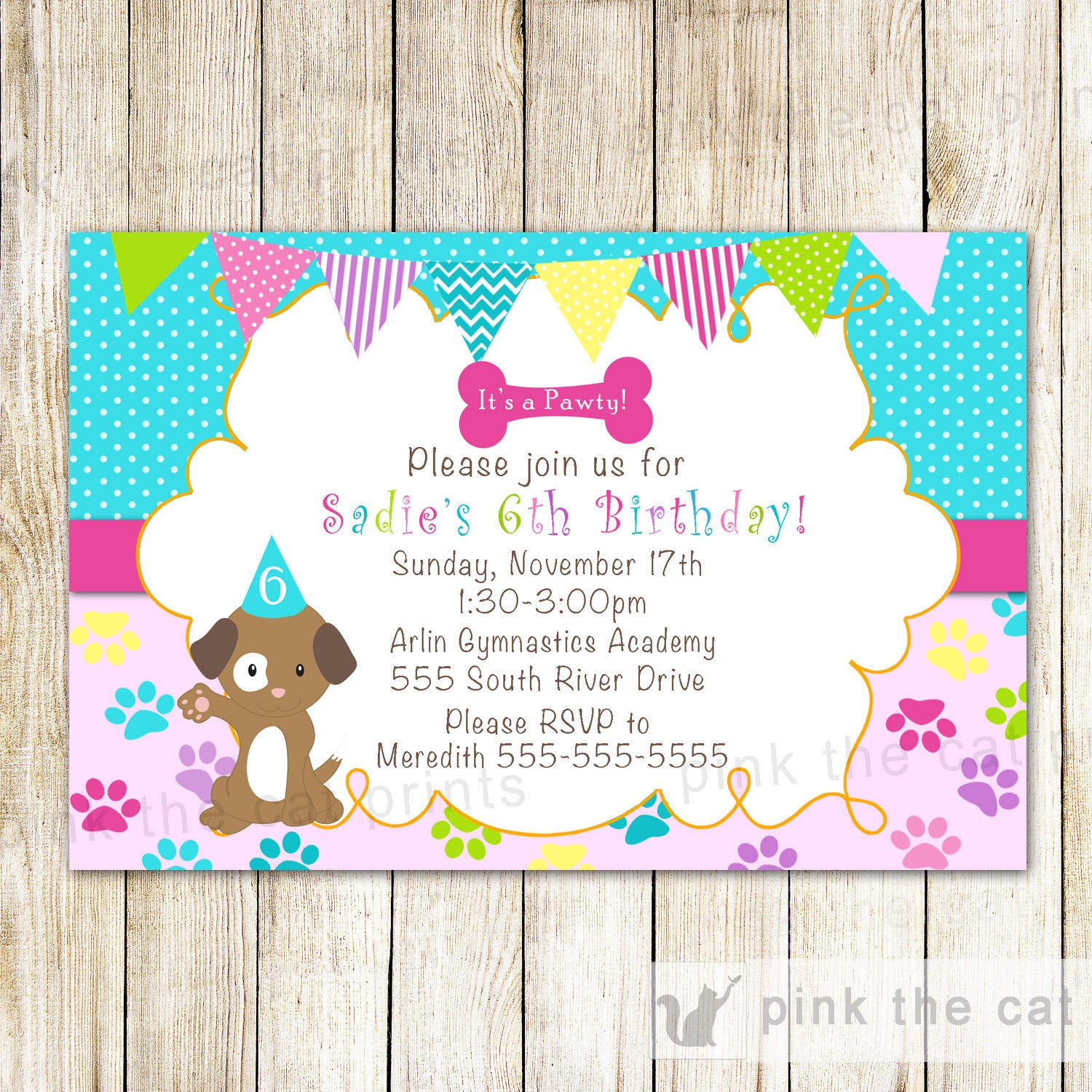 Puppy Girl Birthday Invitation Pawty Pink Turquoise – Pink The Cat