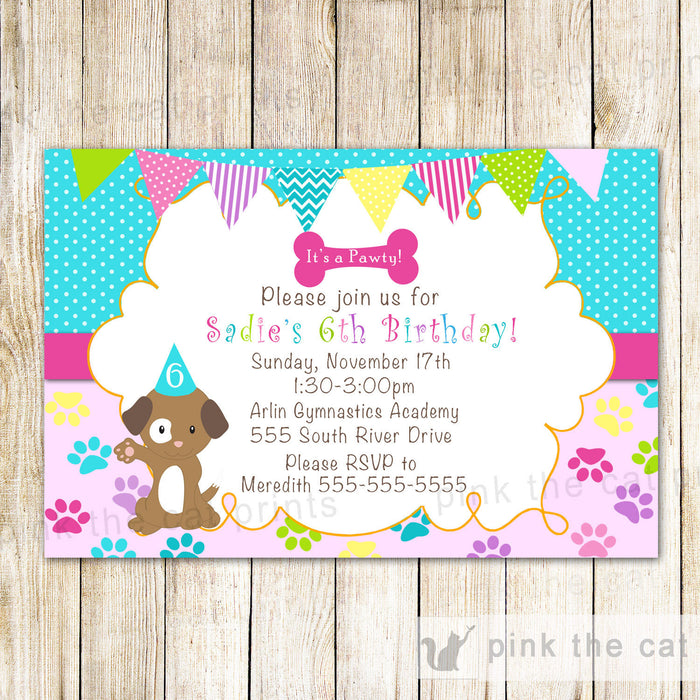 Puppy Girl Birthday Invitation Pawty Pink Turquoise