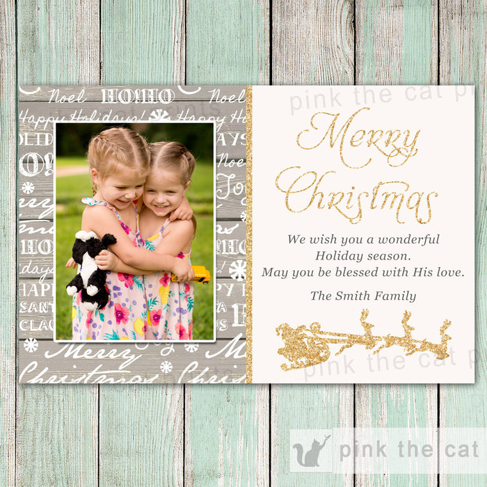 Rustic Christmas Photo Card - Family Xmas Greeting Card Christmas Card Christmas Greeting Card With Words Wood Gold Glitter Christmas Custom