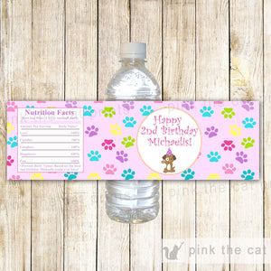 Puppy Pawty Bottle Label Girl Birthday Paws