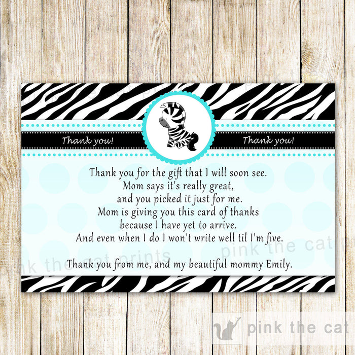 Zebra Thank You Card Note Birthday Baby Shower Teal