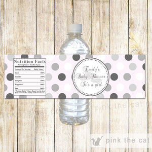 Baby girk shower bottle label pink silver printable