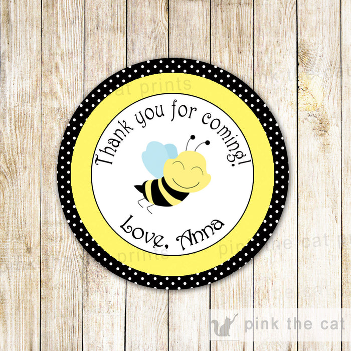 Bee Sticker Gift Favor Tag Label Baby Shower Unisex Gender Reveal