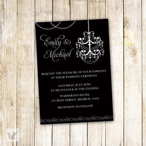 black white chandelier wedding invitation
