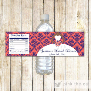 Dress Bridal Shower Bottle Label Coral Navy Blue