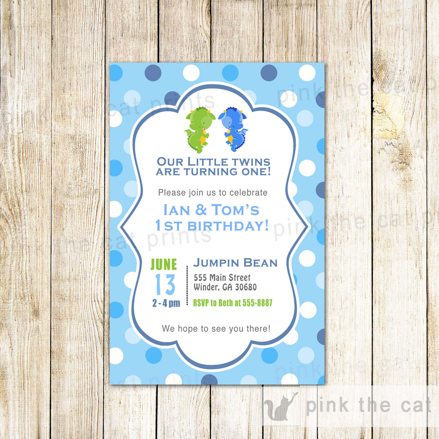 Twins Dragon Invitation Boy Birthday Party