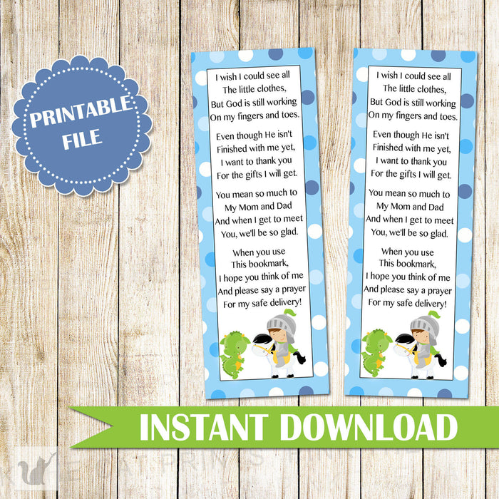 Knight Dragon Bookmark Baby Shower Favor INSTANT DOWNLOAD