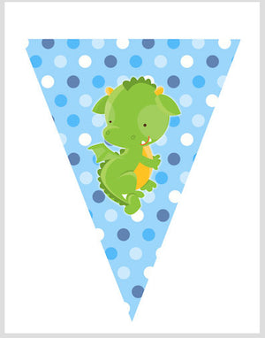 Knight Dragon Flag Banner Blue Birthday Baby Shower