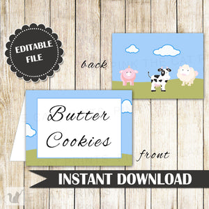 Farm Animals Buffet Food Label Place Seating Name Card Birthday Baby Shower
