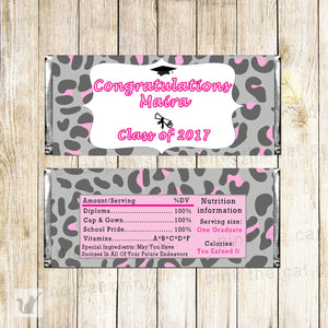 Graduation Candy Bar Label Wrapper Pink Leopard