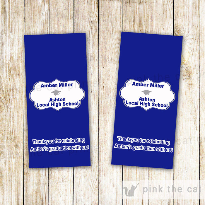 Graduation Candy Bar Label Wrapper Navy Blue