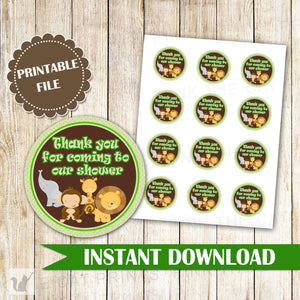Jungle Thank You Tag - Green Jungle Baby Shower Stickers Jungle Tags Party Decorations Birthday Favors Baby Shower Favors INSTANT DOWNLOAD