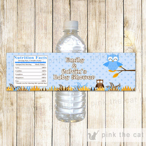 Blue Owl Bottle Label Birthday Baby Shower