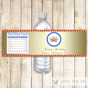 Prince Bottle Label Birthday Baby Shower Red Blue