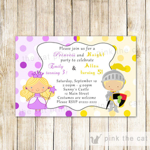 princess knight invitation