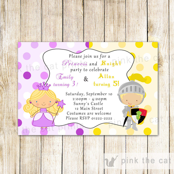 Princess Knight Invitation Kids Birthday Party