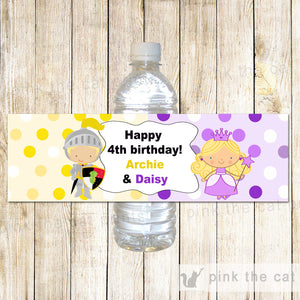 Prince Princess Bottle Label Knight Kids Birthday