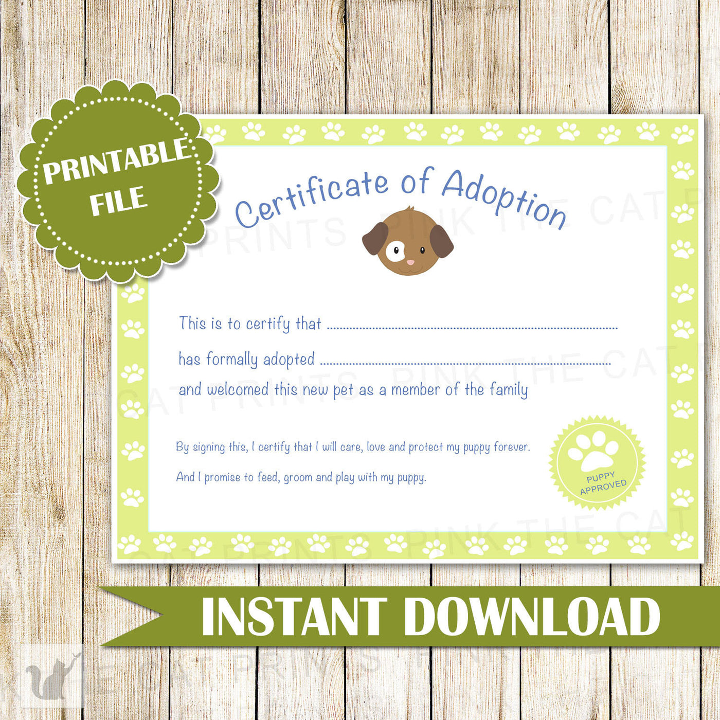 Certificate Of Adoption Puppy Birthday Party Green Pink The Cat