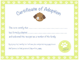 Certificate of Adoption Puppy Birthday Party Green