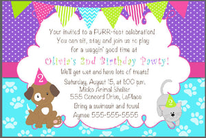 Puppy Kitten Girl Birthday Invitation