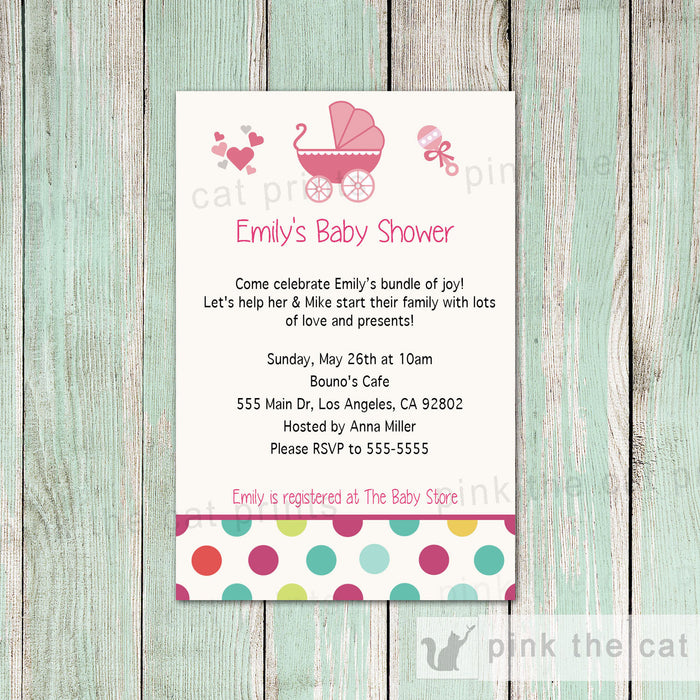 Stroller Invitation Card Baby Girl Shower