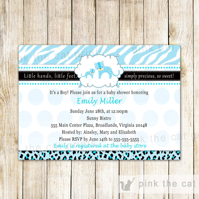 Tiger and Cub Baby Boy Shower Invitation Blue Zebra