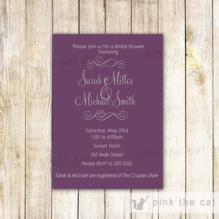 Purple Bridal Shower Invitation Card Romantic Wedding Shower Sweet 16