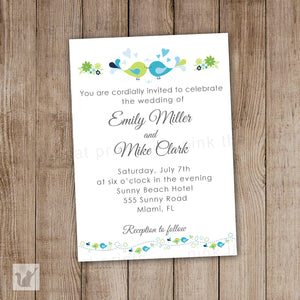 love birds wedding invitation