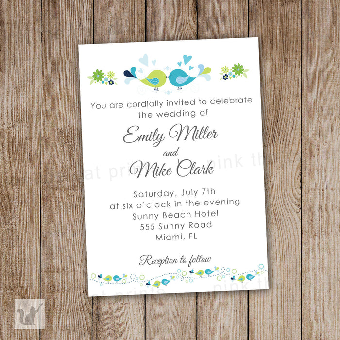 Birds Wedding Invitation Love Birds Blue Green