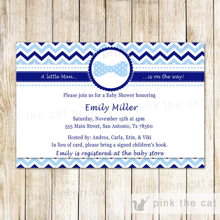 Bowtie Invitation Boy Birthday Baby Shower Blue Bow Tie