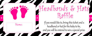 Headbands And Hats Raffle Baby Shower Raffle Game Activity Baby Girl Shower Zebra Baby Sprinkle Shower Party Ideas INSTANT DOWNLOAD