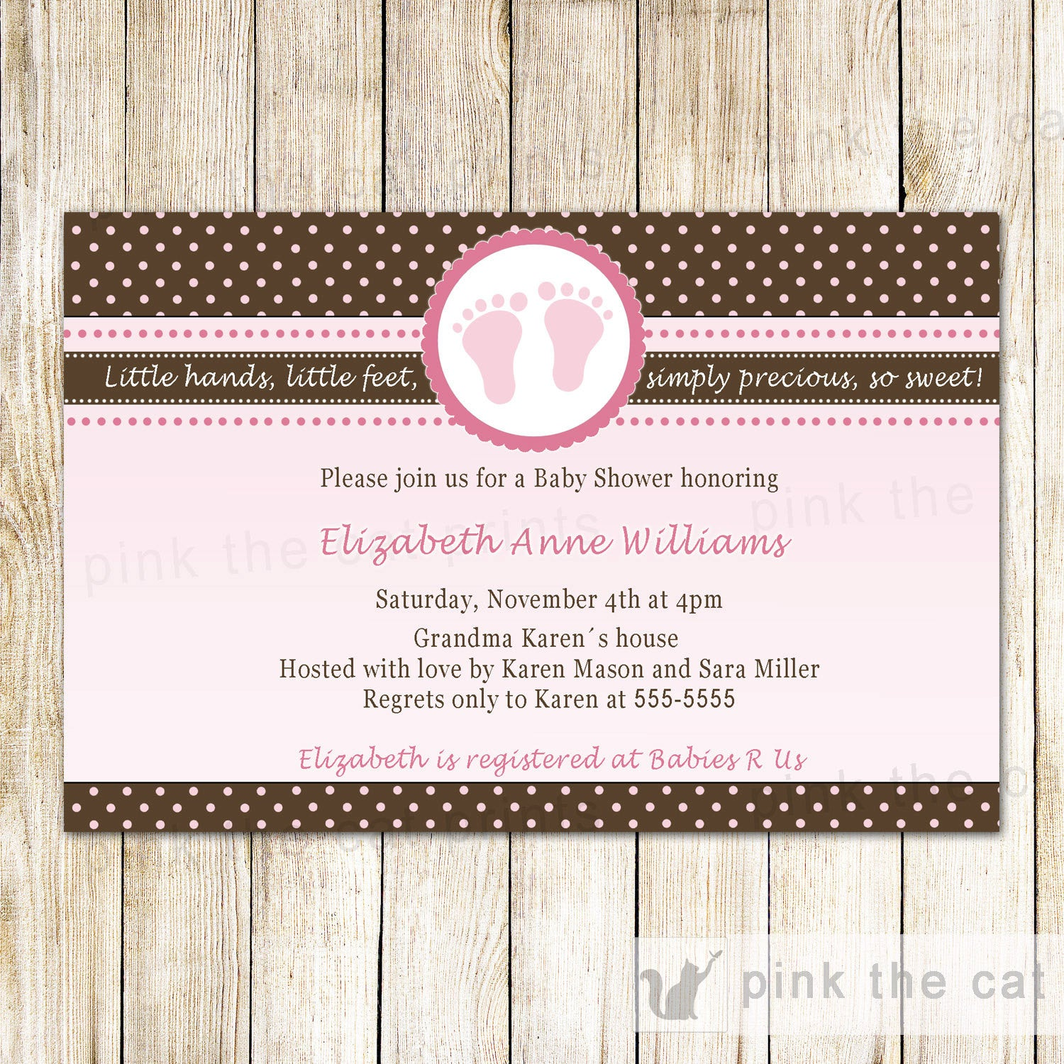 baby girl shower invitation pink brown polka dots feet pink the cat