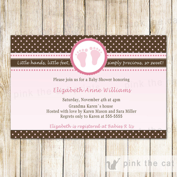 Baby Girl Shower Invitation Pink Brown Polka Dots Feet