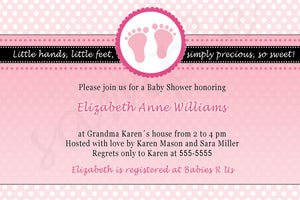 feet invitation pink polka dots