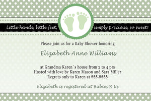 Pink Feet Polka Dots Baby Girl Shower Invitation