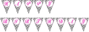 Birthday Flag Banner Pink Black Damask