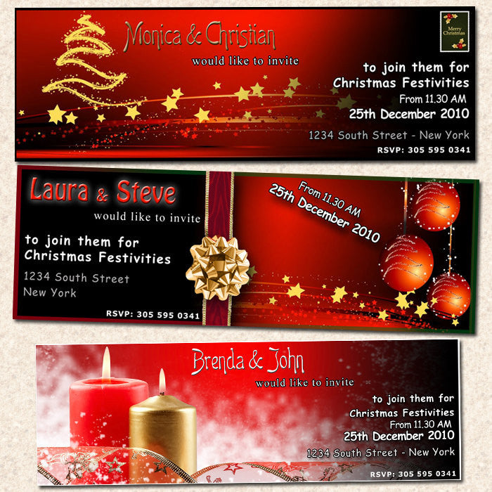 Christmas Ticket Holiday New Year Party Invitation ...