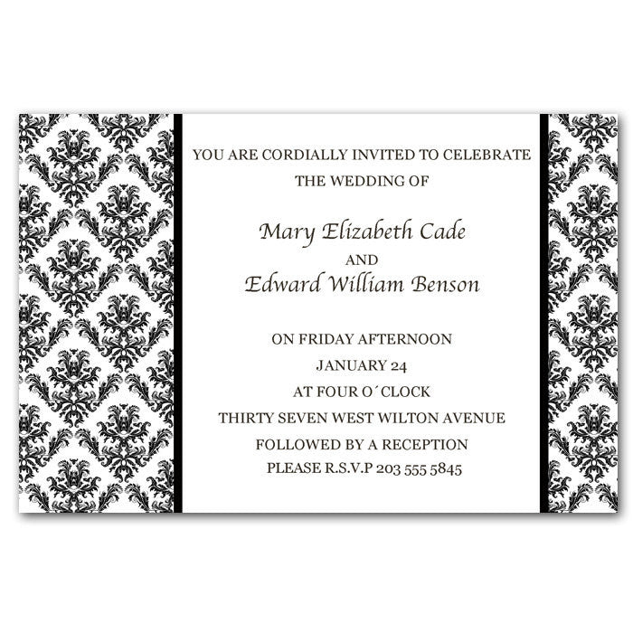 Damask Wedding Invitation Black White Classic Pink The Cat