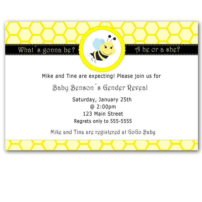 Bee Baby Shower Invitation Gender Reveal Party – Pink The Cat