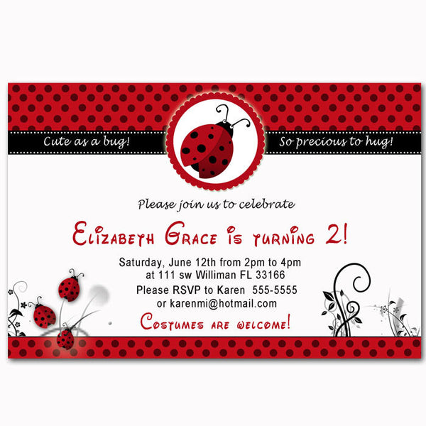 ladybug birthday invitation girl party red black pink the cat