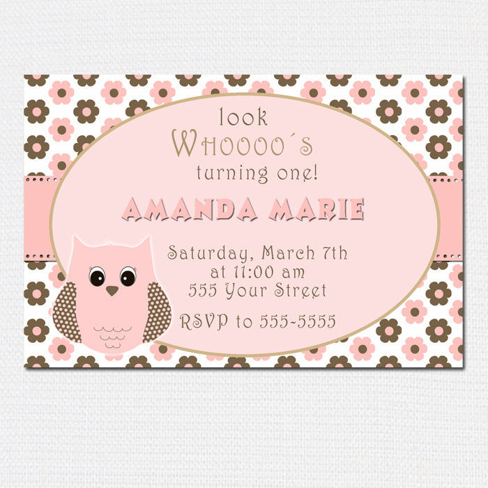 Owl Birthday Invitation Baby Girl Shower Pink Brown Floral