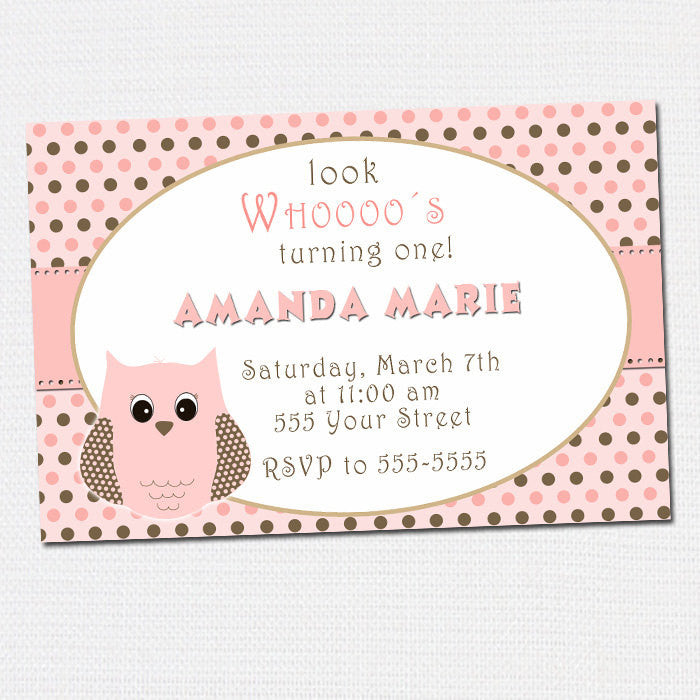 Owl Birthday Invitation or Baby Girl Shower Pink Brown Dots